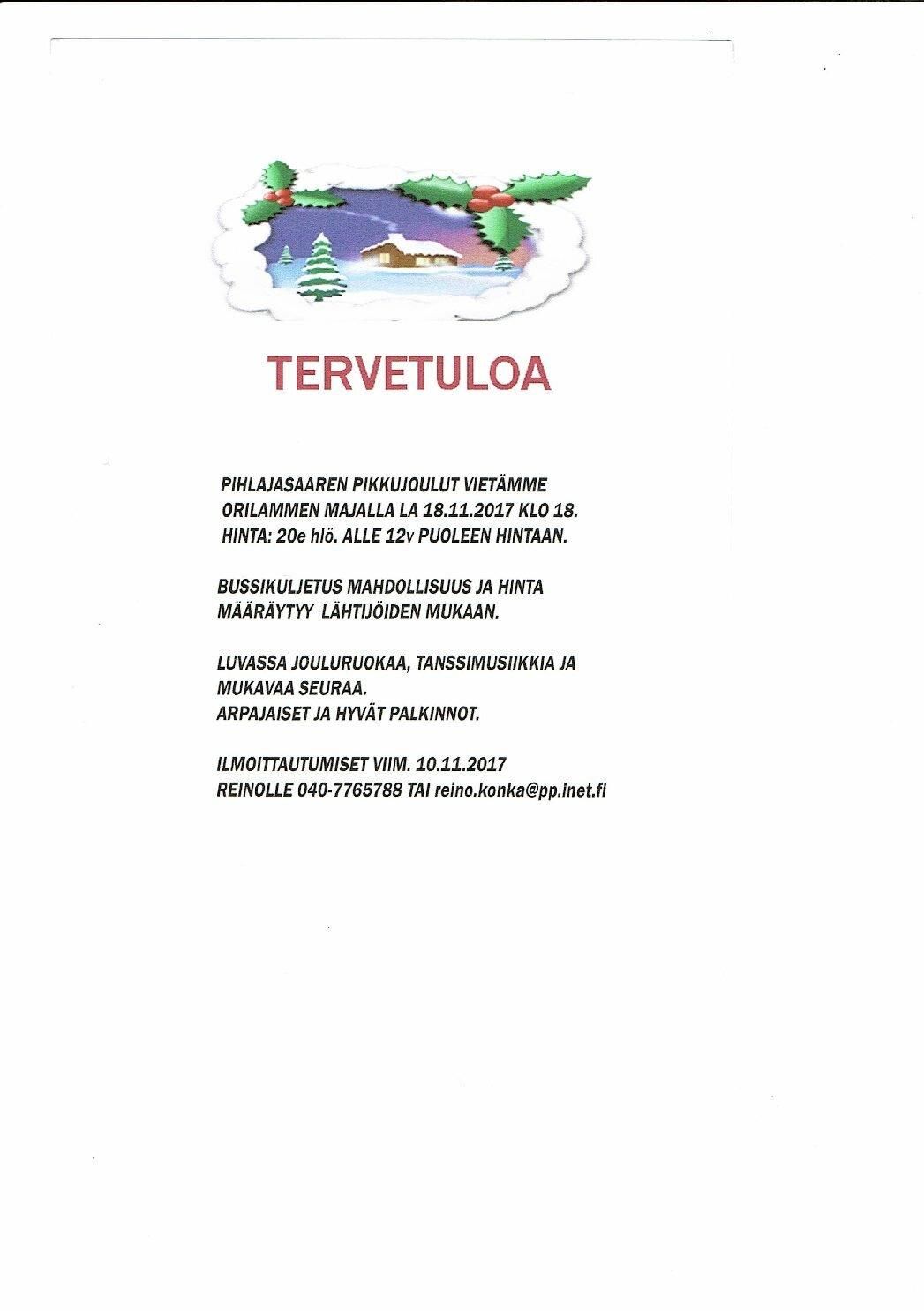 Pikkujoulut la 18.11.2017 Orilammen Majalla